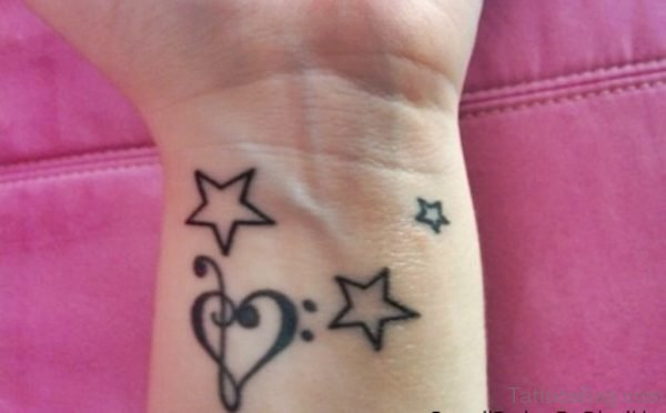 Star And Music Heart Tattoo