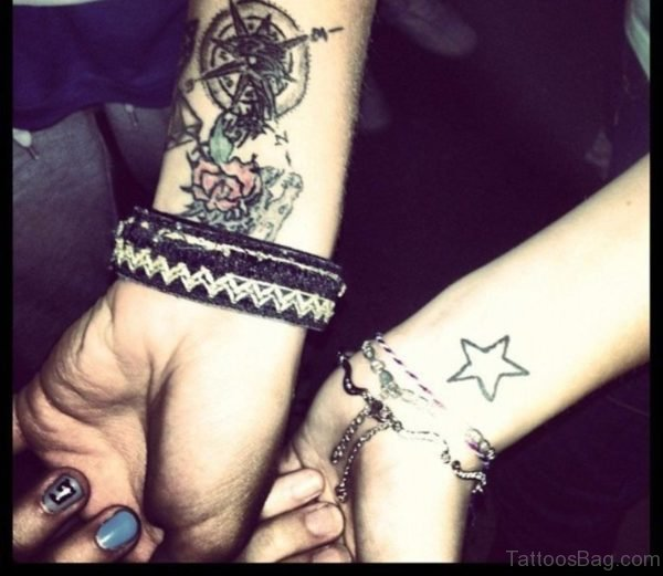 Star With Compass Tattoo