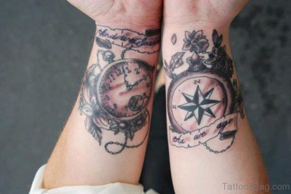 Stop Watch Compass Tattoo On Wrist