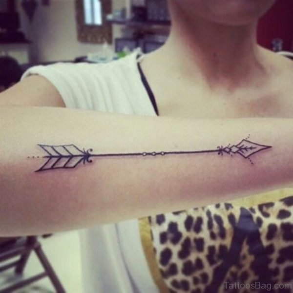 Straight Arrow Tattoo On Wrist