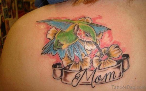 Stylish Hummingbird Tattoo On Back