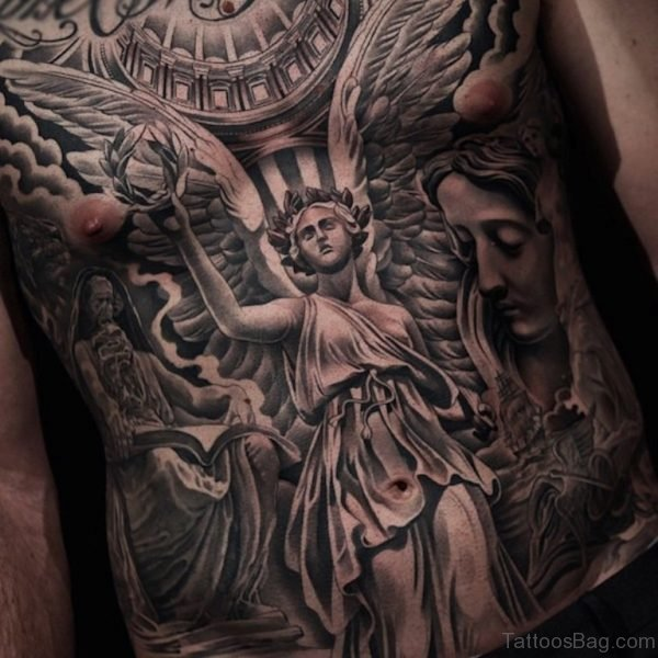Stunning Angel Tattoo On Chest