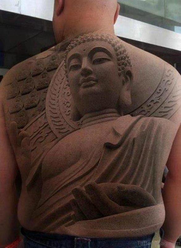 Stunning Buddha Tattoo On Back Body