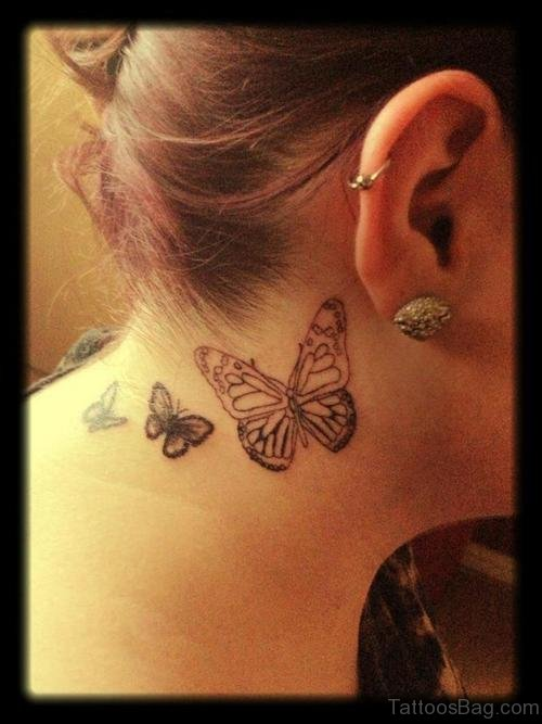 Stunning Butterfly Tattoo On Side Neck