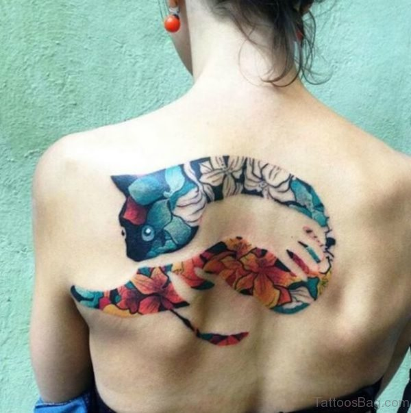 Stunning Cat Tattoo On Back