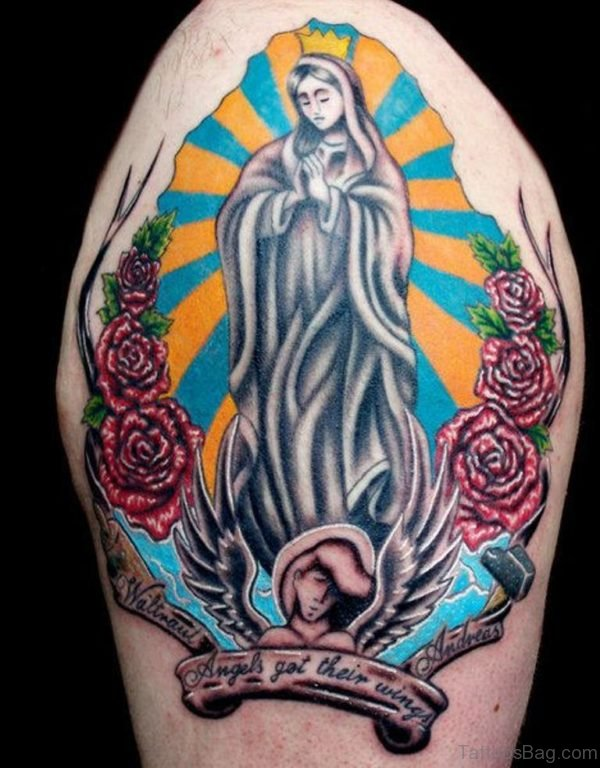 Stunning Colorful Mary Tattoo