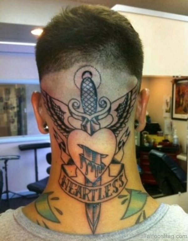 Stunning Heart Tattoo On Neck