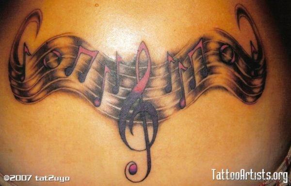 Stunning Music Notes Tattoo