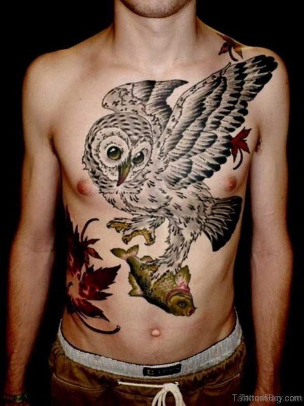 Stunning Owl Tattoo Design On Chest