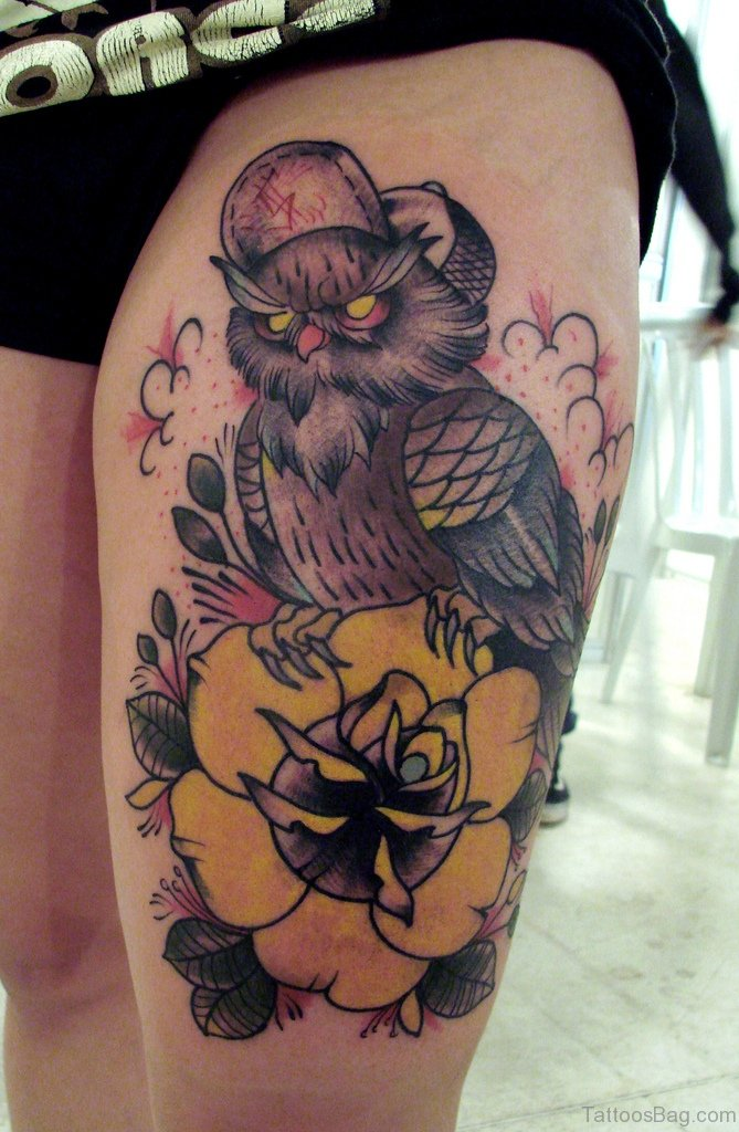 39 exciting owl tattoos for thigh for Saint tattoo knoxville