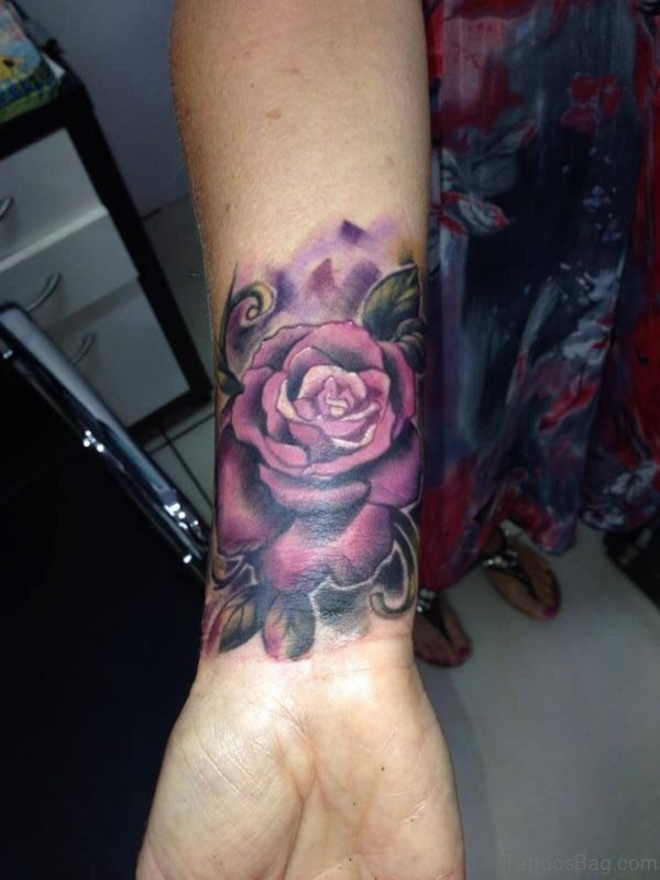 Stunning Purple Rose Tattoo On Wrist