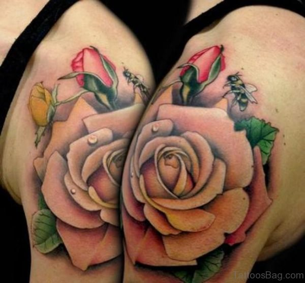 Stunning Rose Tattoo On Shoulder