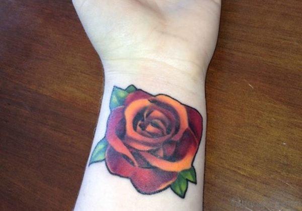 Stunning Rose Tattoo On Wrist