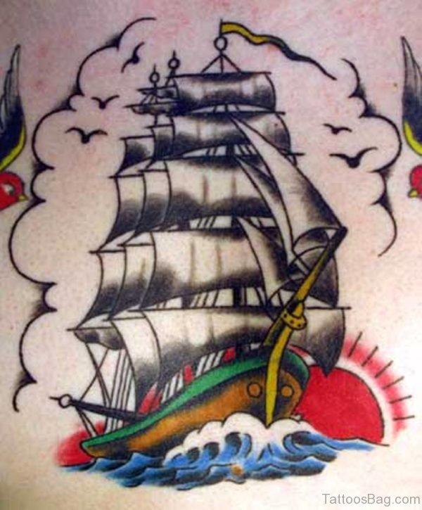 Stunning Ship Tattoo On Back
