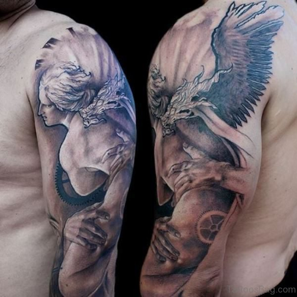 Stunning Tattoo Of Angel On Shoulder