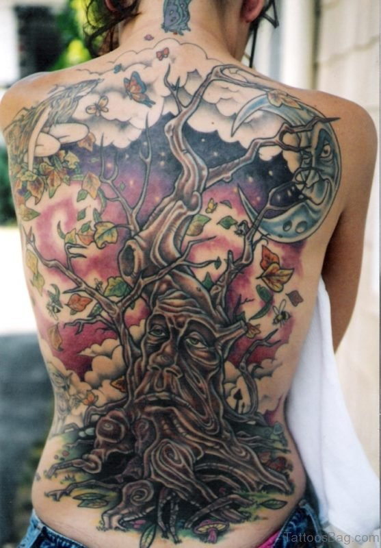 Stunning Tree Tattoo On Full Back