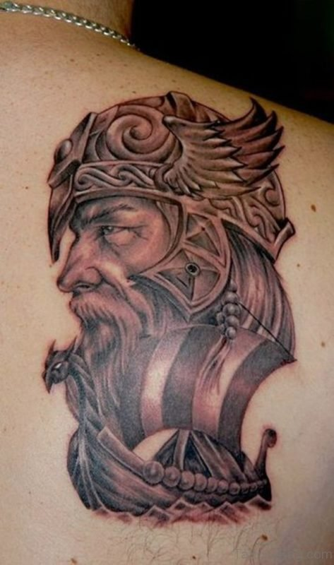 Stunning Viking Shoulder Back Tattoo