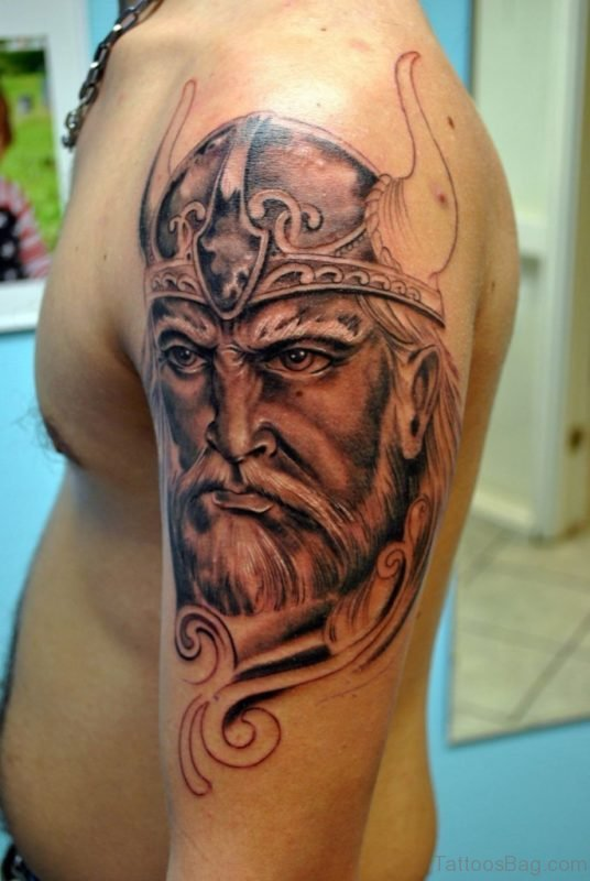 Stunning Viking Shoulder Tattoo Design