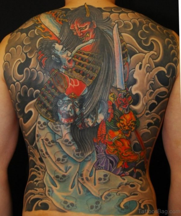Stylish Samurai Tattoo On Full Back