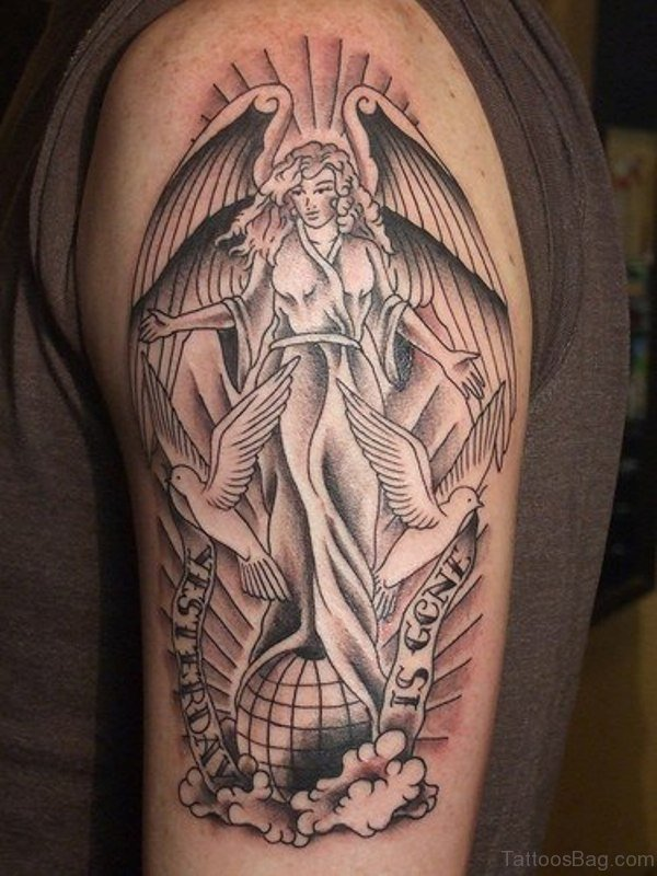 Stylish Angel Shoulder Tattoo Design