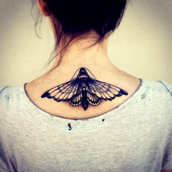 Stylish Black Butterfly Tattoo On Neck