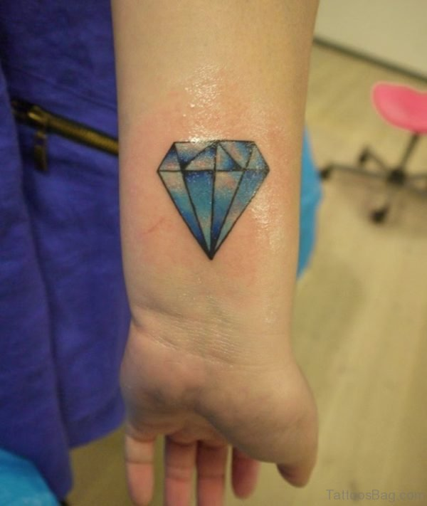 Stylish Blue Diamond Tattoo On Wrist