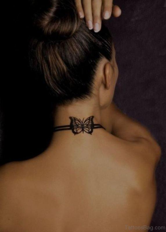 Stylish Bow Tattoo On Neck