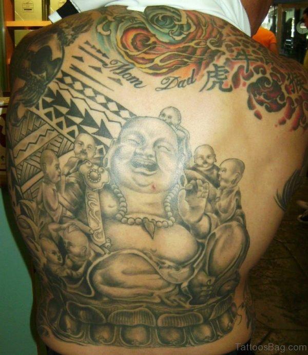 Stylish Buddha Tattoo For Back