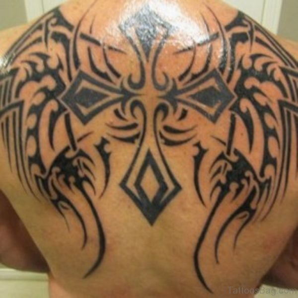 Stylish Cross Tattoo On Back