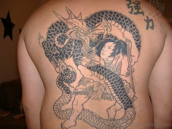 Stylish Dragon Tattoo On Back