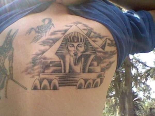 Stylish Egyptian Tattoo On Back