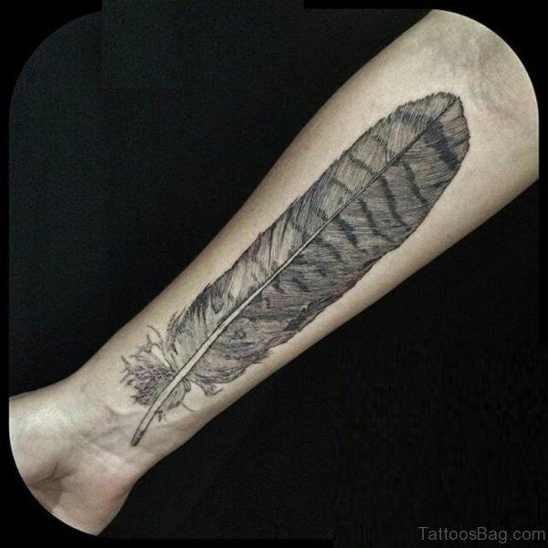 Stylish Feather Tattoo On Wrist