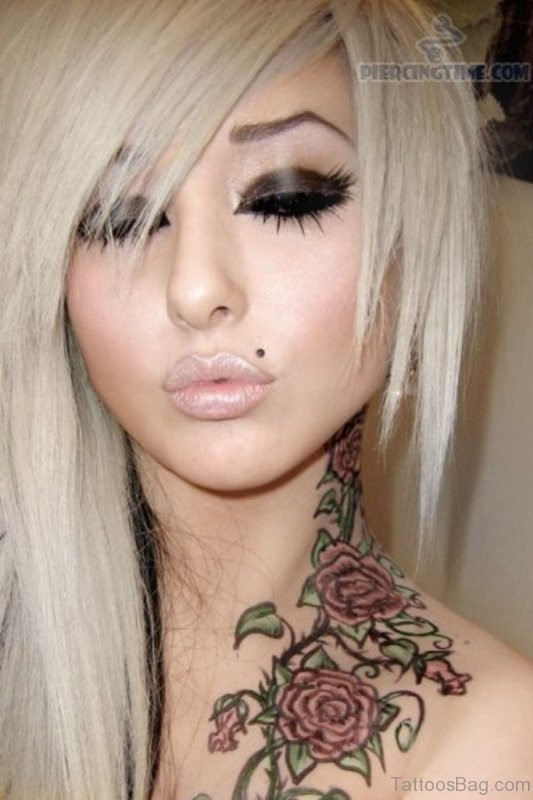 Stylish Flowers Tattoo On Neck