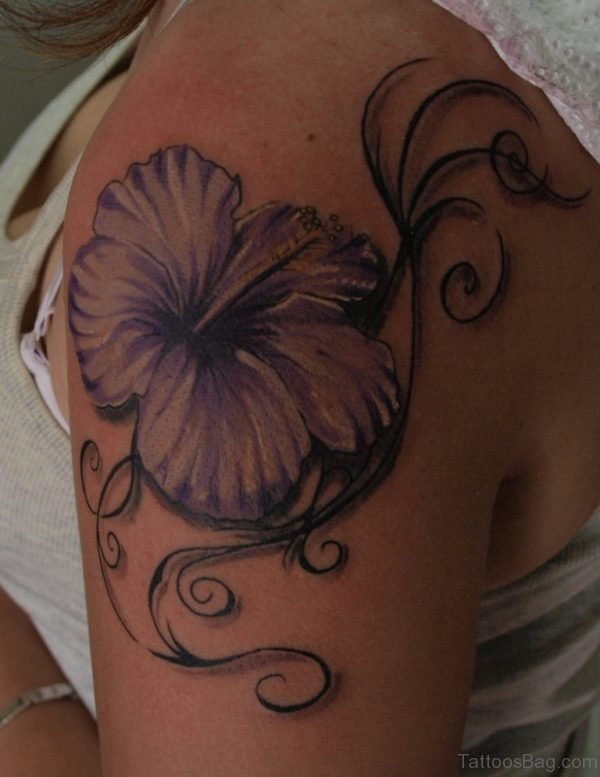 Stylish Hibiscus Flower Tattoo