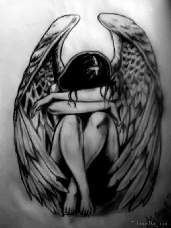 Stylish Memorial Angel Tattoo Design