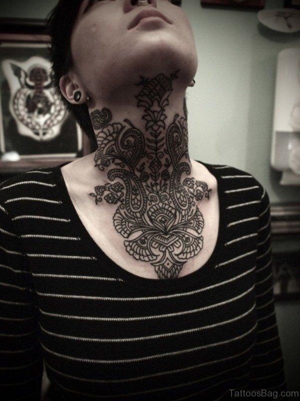 Stylish Neck Tattoo For Women