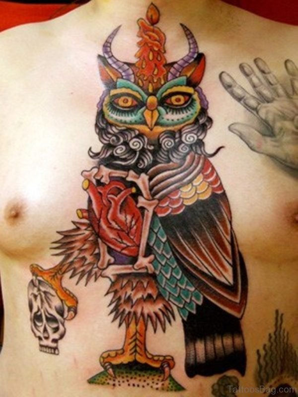 Stylish Owl Chest Tattoo