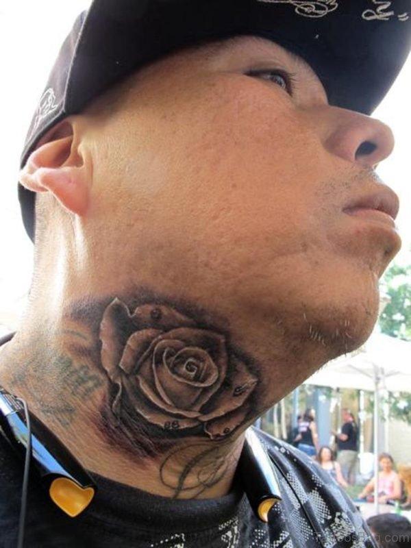 Stylish Rose Tattoo On Neck
