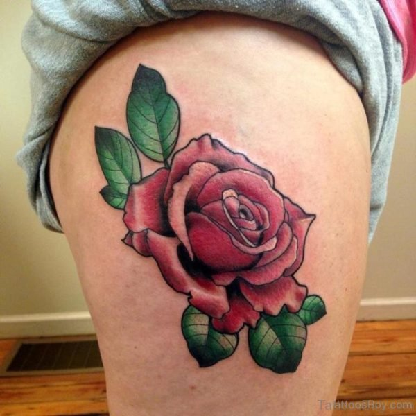 Stylish Rose Tattoo On Thigh