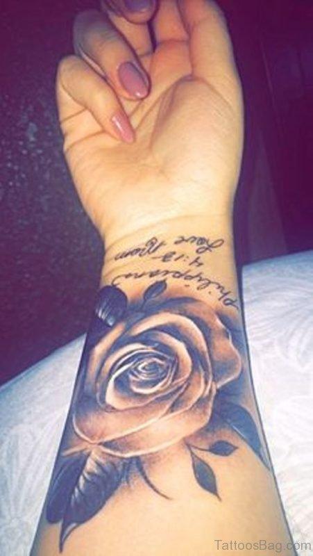 Stylish Rose Tattoo On Wrist