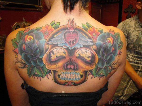 Stylish Skill And Rose Tattoo