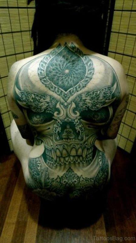 Stylish Skull Tattoo On Back
