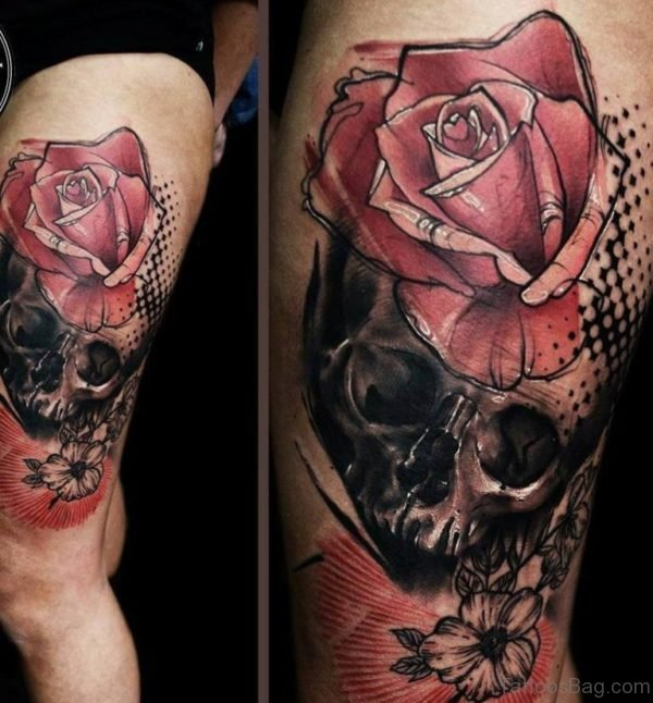 Stylish Skull Tattoo On Thigh
