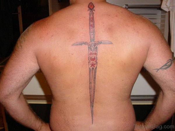 Stylish Sword Tattoo On Back