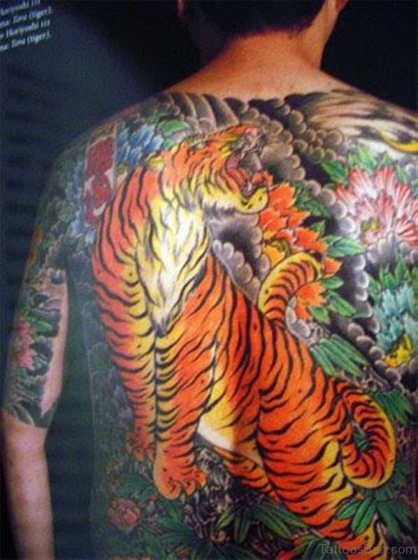 Stylish Tiger Tattoo On Back