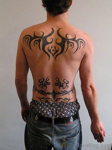 Stylish Tribal Tattoo On Back