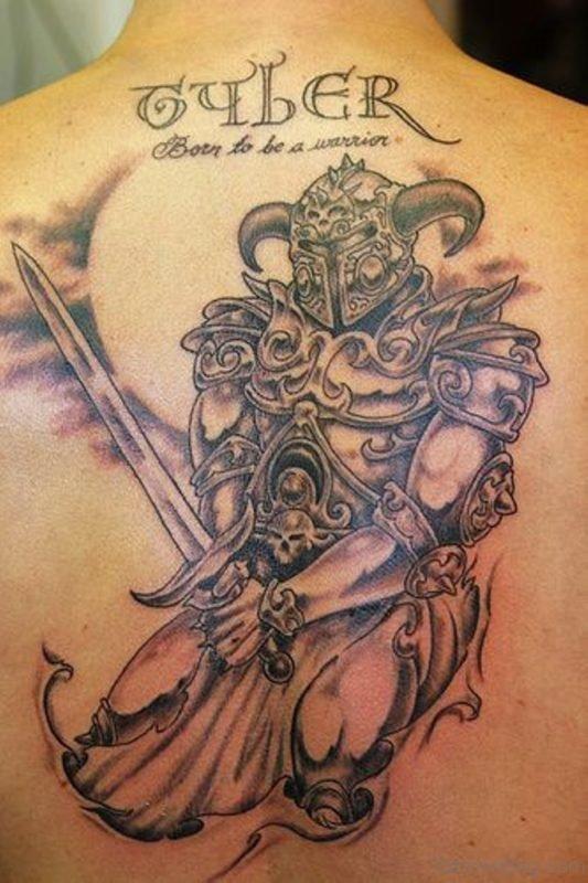 Stylish Warrior Tattoo On Back