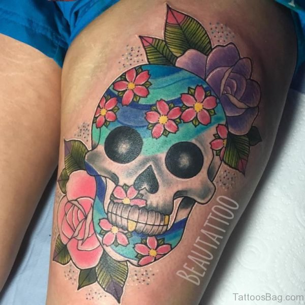 Sugar Skull Tattoo On Women Thigh
