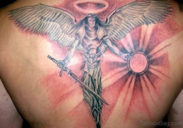 Sun And Angel Tattoo On Back