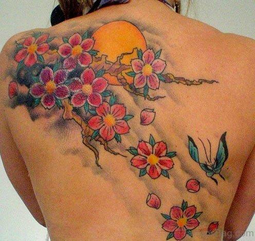 Sun And Cherry Blossom Tattoo